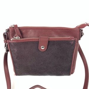 Margot crossbody bag calf hair burgundy purse